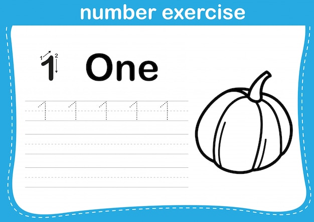 Number exercise with cartoon coloring book illustration Premium Vector