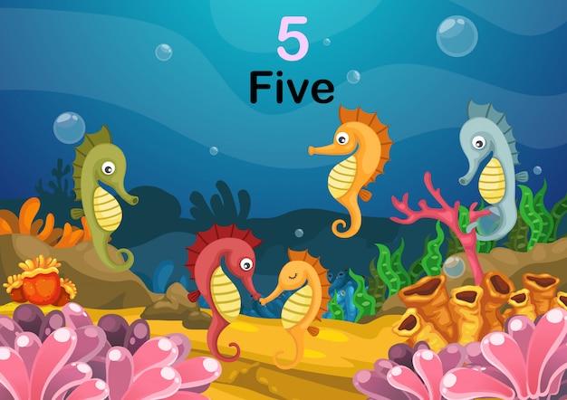 Number five sea horse under the sea vector Premium Vector