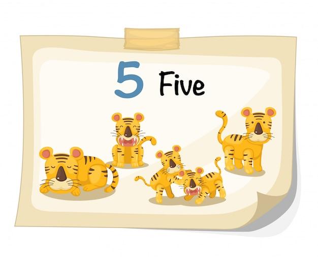 Number five tiger vector Premium Vector