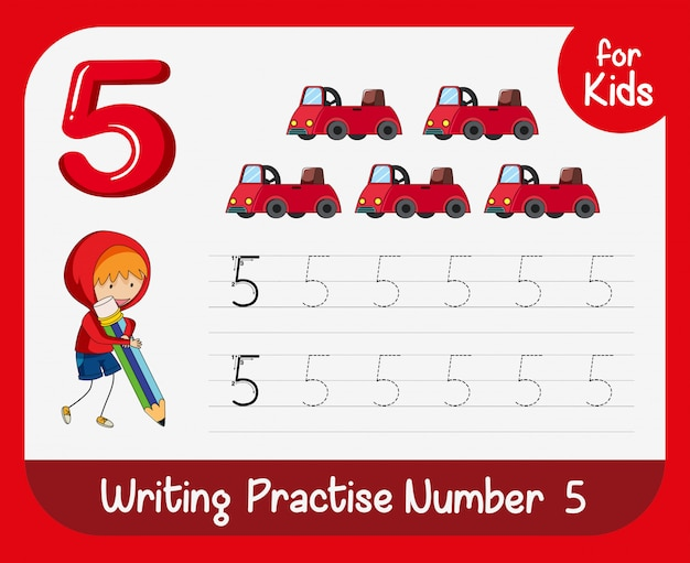 Number five tracing worksheets Free Vector