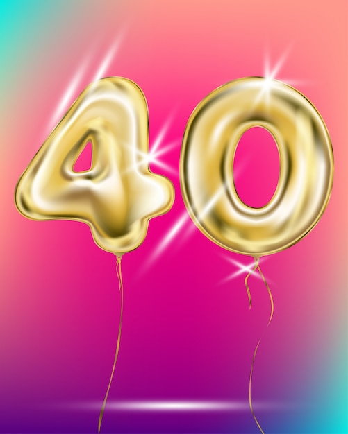 Number forty gold foil balloon on gradient Premium Vector