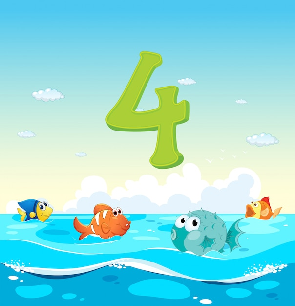 Number four with 4 fish in the ocean Free Vector