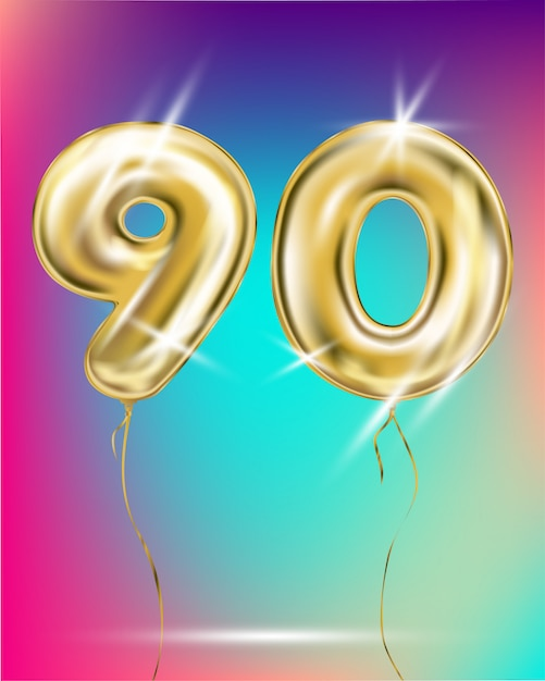 Number ninety gold foil balloon on gradient Premium Vector