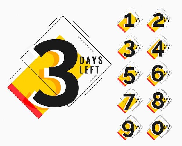 Количество дней, оставшихся в современном стиле мемфиса баннер Бесплатные векторы