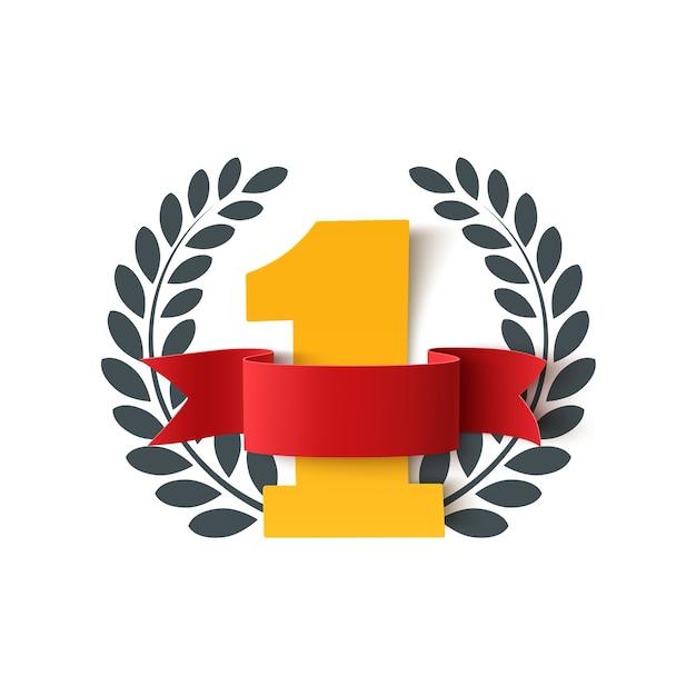 빈, 빨간 리본 및 화이트 올리브 브랜치 번호를 하나의 배경. 포스터 또는 브로셔 템플릿. 프리미엄 벡터