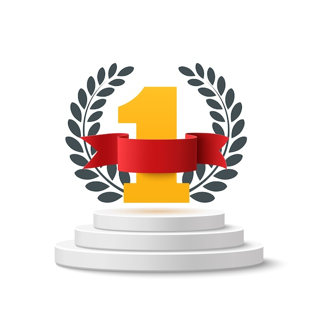 Number one background with blank, red ribbon and olive branch on round pedestal isolated on white. poster or brochure template. Premium Vector