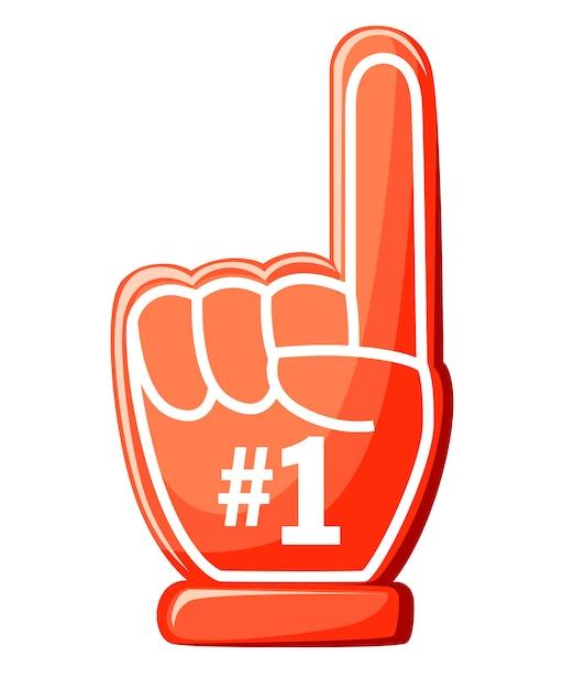 최고의 장갑. 1 붉은 거품 손가락. 흰색 바탕에 그림입니다. 프리미엄 벡터