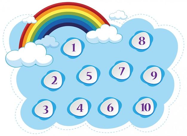 青い空とカラフルな虹の背景を持つ番号1〜10 Premiumベクター
