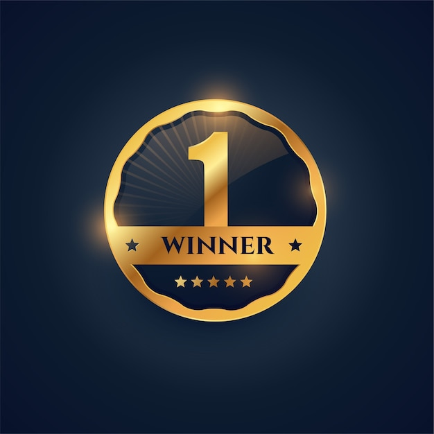 ゴールデンバッジスタイルでナンバーワンの勝者ラベル 無料ベクター