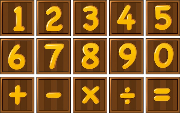 Number one to zero and math signs on wooden boards Free Vector