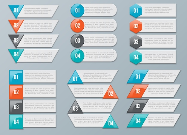 Number options for infographics. numbered data information, chart. vector illustration Free Vector