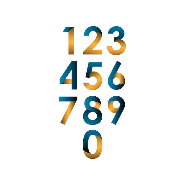 番号セットベクトルテンプレートデザインイラスト Premiumベクター