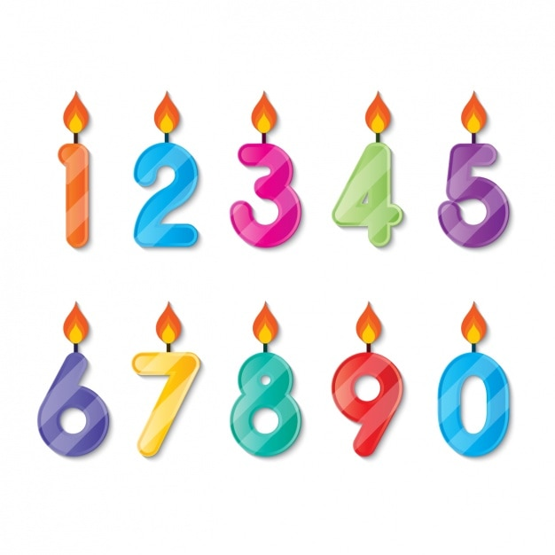 Number shaped birthday candlesv Vector | Free Download