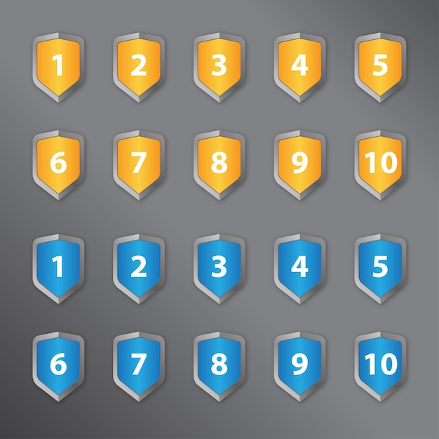 Number in a shield Premium Vector