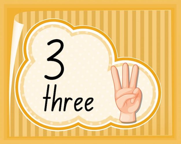 Number three hand gesture Free Vector