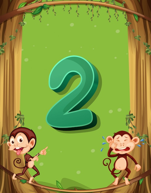 Number two with 2 monkeys on the tree Free Vector