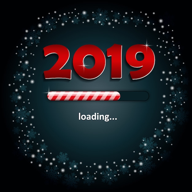 Numbers 2019 and a loading bar Premium Vector