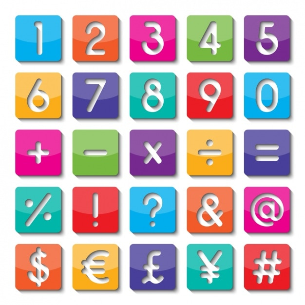 Numbers And Symbols Of Colors Vector Free Download