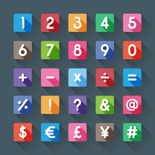 Numbers and symbols of colors Vector | Free Download