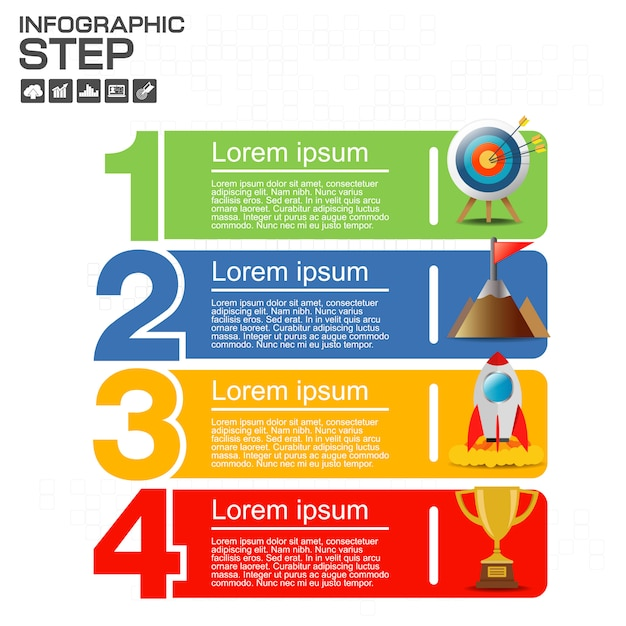 Numbers four points slide template Premium Vector
