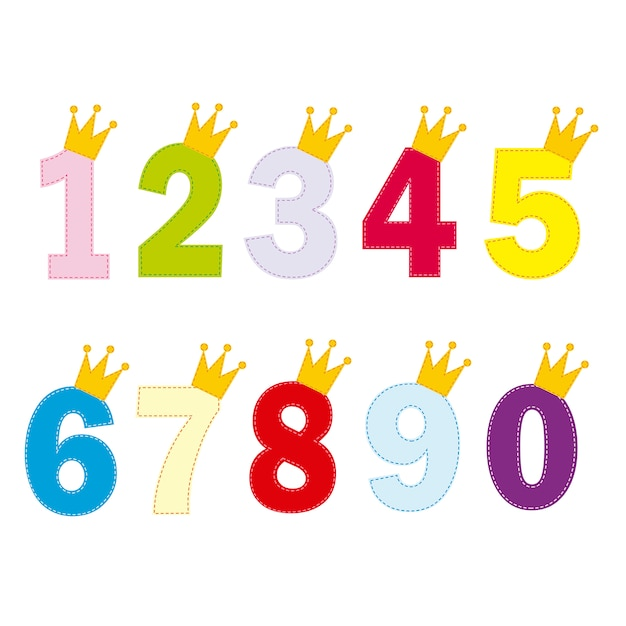 Numbers for little princess and prince Premium Vector