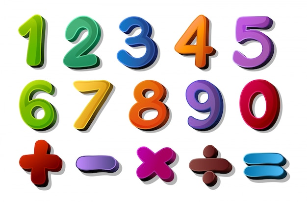 Numbers and maths symbols Free Vector
