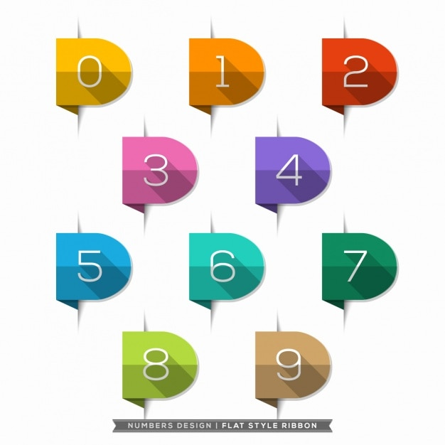 Numbers in ribbons collection Free Vector