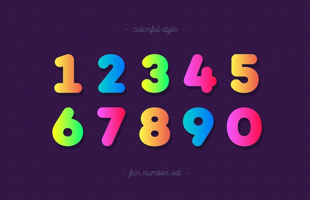 숫자 설정 만화 스타일 유행 타이포그래피 프리미엄 벡터