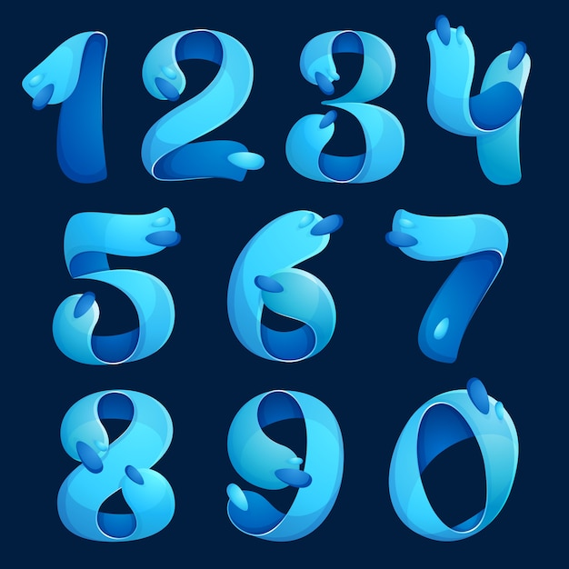 Numbers set logos with water waves and drops. design for banner, presentation, web page, card, labels or posters. Premium Vector