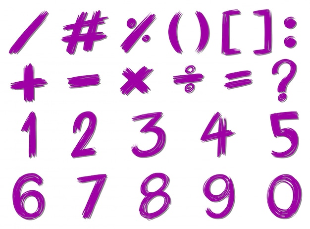 Numbers and signs in purple color Free Vector