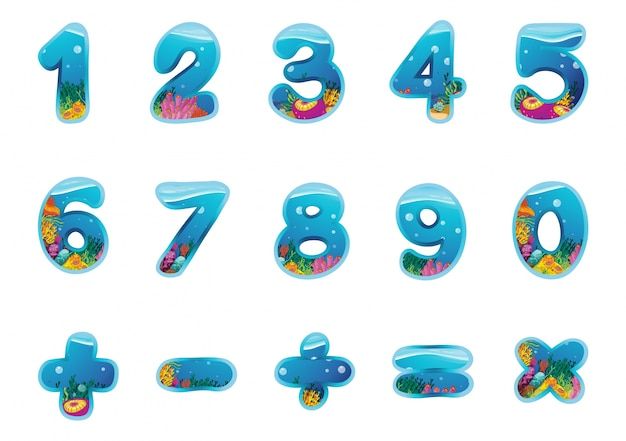 Numbers and signs Free Vector