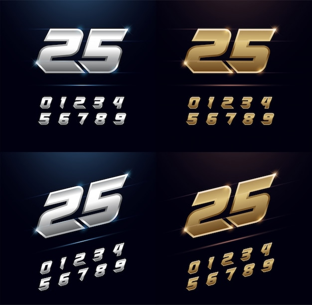 Numbers silver and golden metal alphabet font Premium Vector
