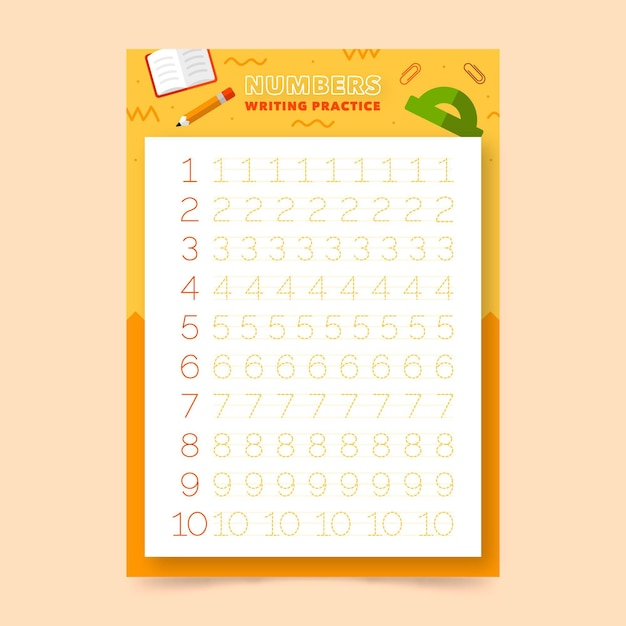 Numbers tracing worksheet template for kids Free Vector