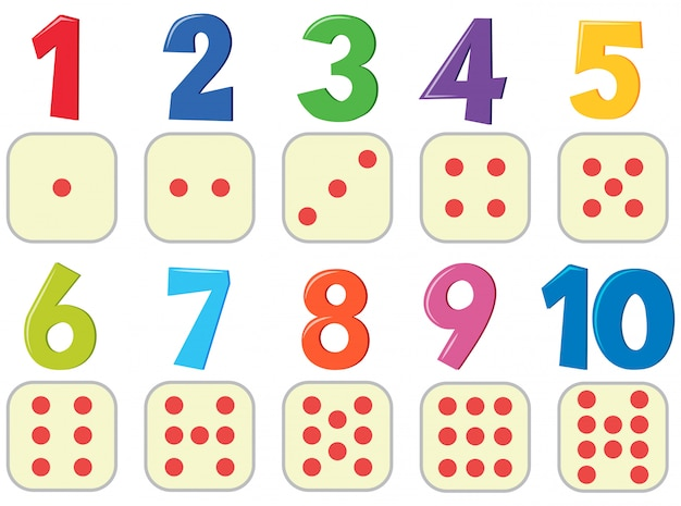 Numbers with image poster Premium Vector