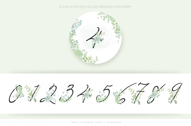 Numbers with watercolor leaves Premium Vector