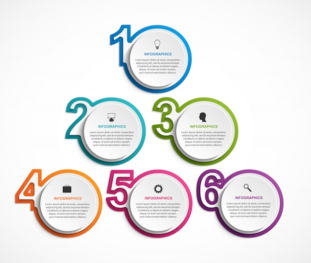 Numeric infographic template for presentations. Premium Vector