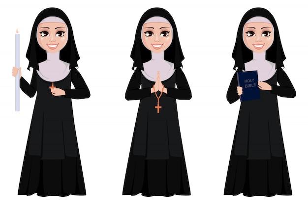 Nun cartoon character set Premium Vector