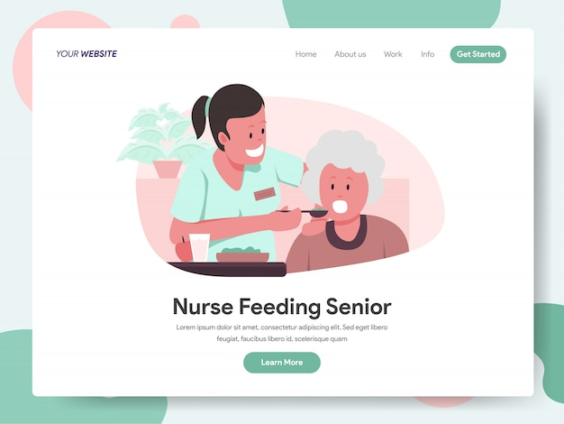 Nurse or caregiver feeding senior banner for landing page Premium Vector