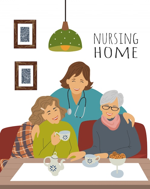 A nurse and cheerful elderly woman at a tea party Premium Vector