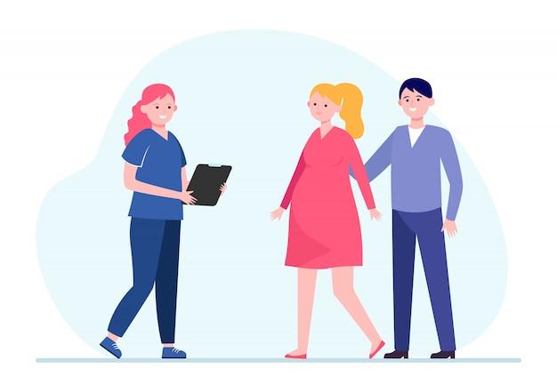 Медсестра консультирует беременную женщину Бесплатные векторы