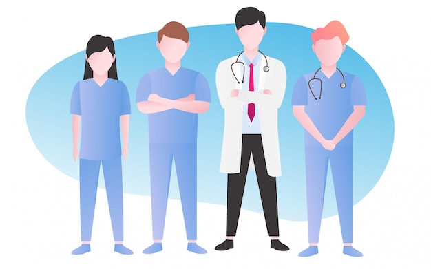 Nurse and doctor at hospital Premium Vector