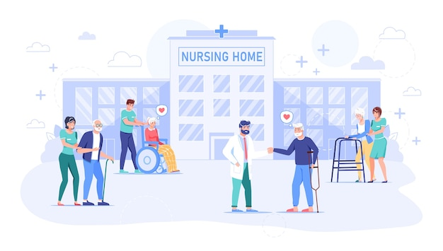 Nurse, doctor taking care about senior grandmother, grandfather in hospital. nursing home building exterior. rehabilitation, health care for old, sick, disabled people. center for retired man, woman Premium Vector