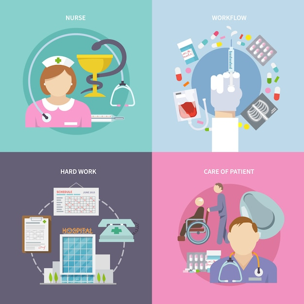 Nurse flat set Free Vector