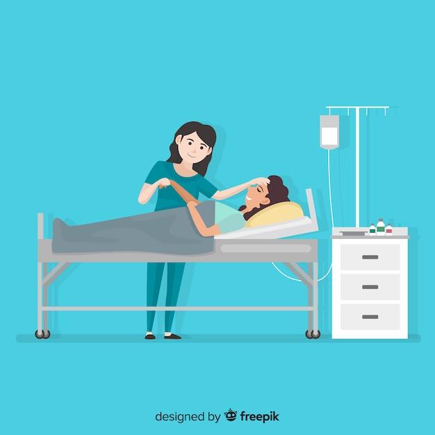 Nurse helping patient background Free Vector
