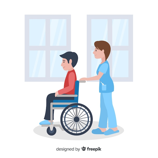 看護師支援患者の背景 無料ベクター