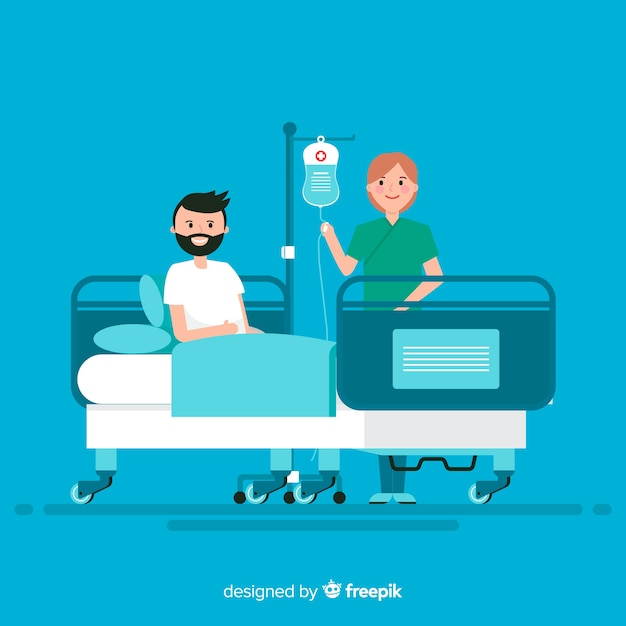 Nurse helping patient background Free Vector