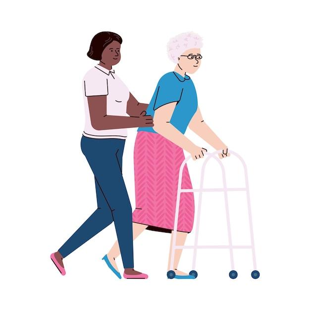 Медсестра помогает пожилой пациентке ходить с ходунками. Premium векторы
