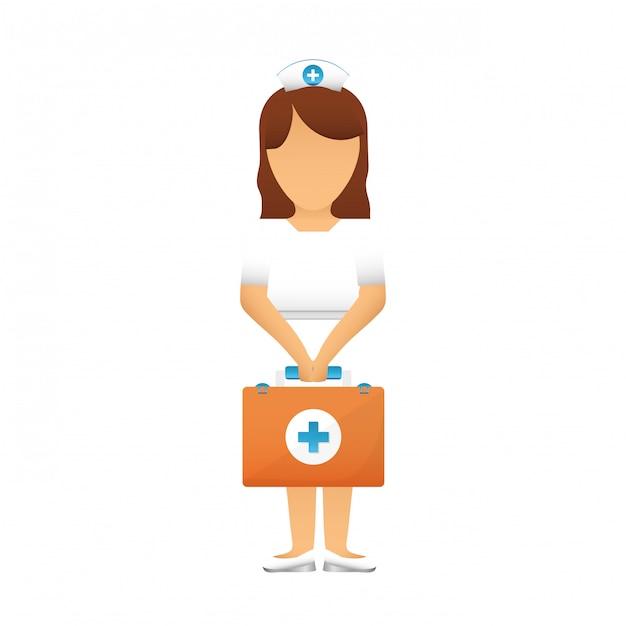 Nurse with diagnostic products icon image Premium Vector