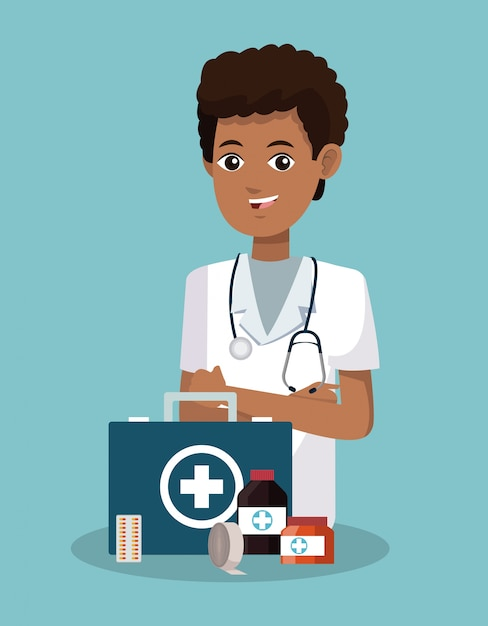 Nurse with first aids suitcase cartoon Premium Vector
