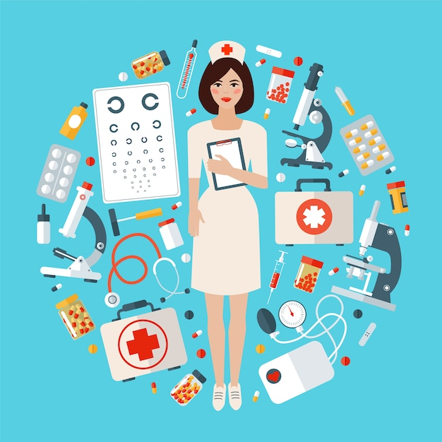 Nurse with medical icons set. health care stuff Premium Vector